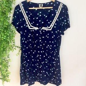 FREE PEOPLE Floral Print & Flat Lace Collar Dress
